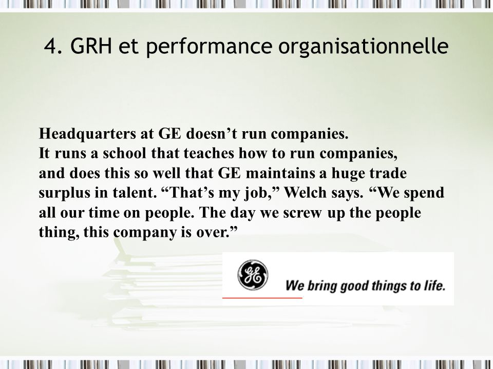 4. GRH et performance organisationnelle