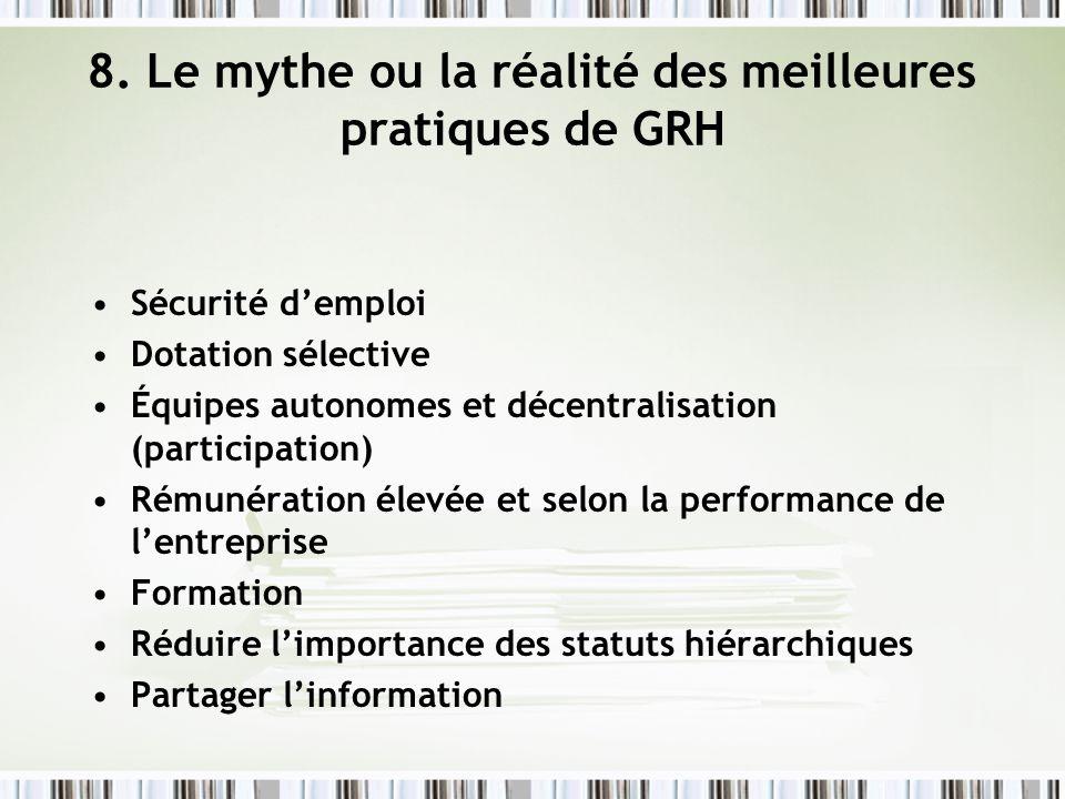 8. Le mythe ou la réalité des meilleures pratiques de GRH