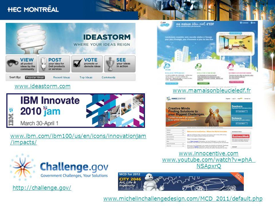 www.ideastorm.comwww.mamaisonbleucieledf.fr. www.ibm.com/ibm100/us/en/icons/innovationjam/impacts/ www.innocentive.com.