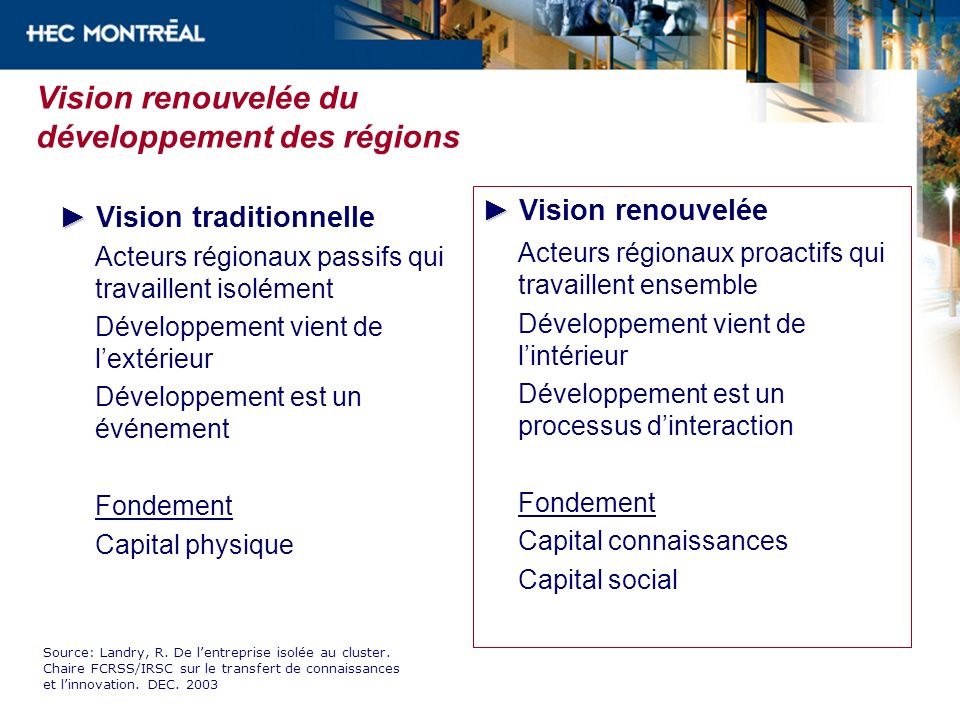 Vision renouvelée du développement des régions