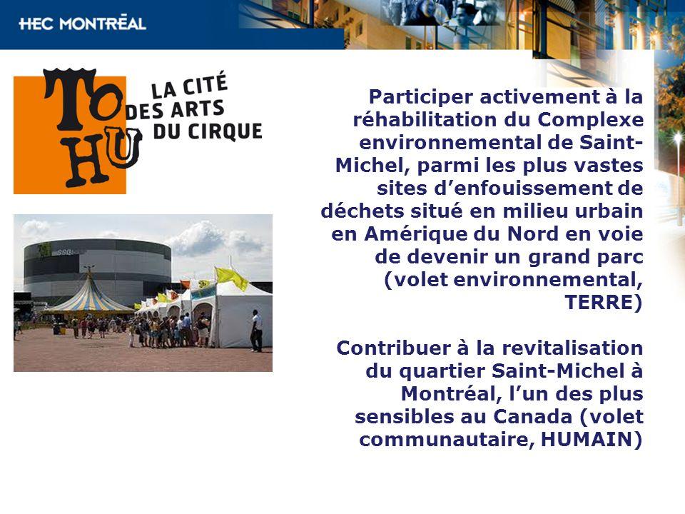 Participer activement à la réhabilitation du Complexe environnemental de Saint-Michel, parmi les plus vastes sites d'enfouissement de déchets situé en milieu urbain en Amérique du Nord en voie de devenir un grand parc (volet environnemental, TERRE)