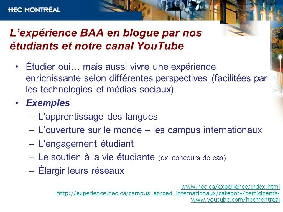 L'expérience BAA en blogue par nos étudiants et notre canal YouTube