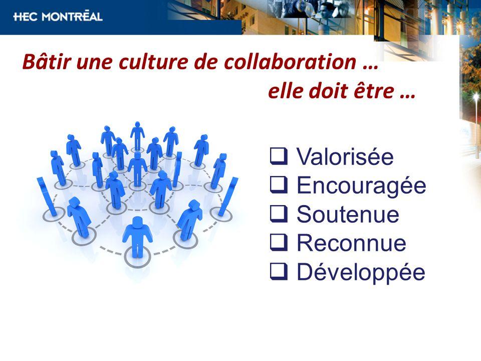 Bâtir une culture de collaboration … elle doit être …