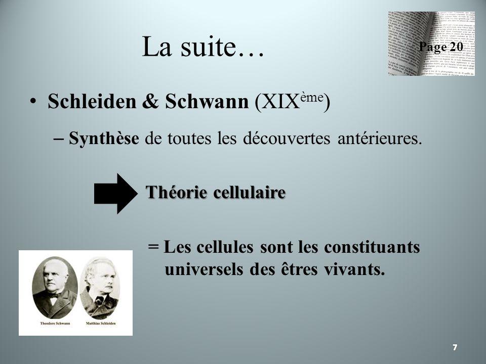 La suite… Schleiden & Schwann (XIXème)
