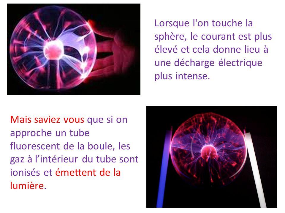 Lorsque l on touche la sphère, le courant est plus élevé et cela donne lieu à une décharge électrique plus intense.