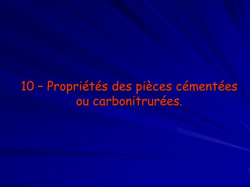 10 – Propriétés des pièces cémentées ou carbonitrurées.