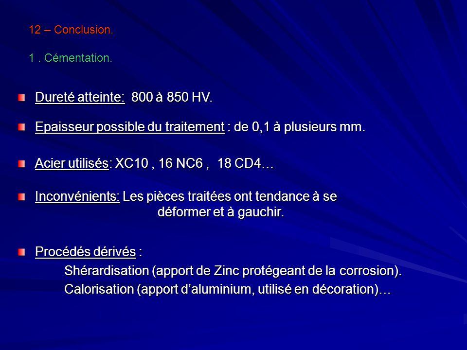 12 – Conclusion. 1 . Cémentation.