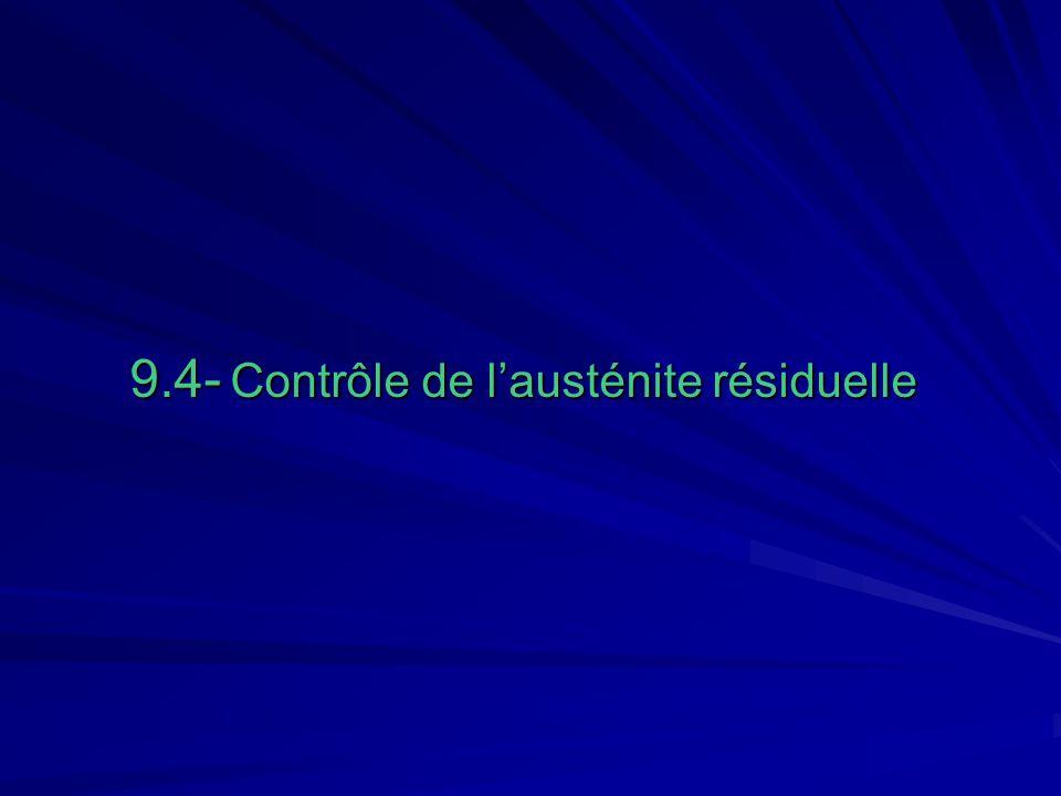 9.4- Contrôle de l'austénite résiduelle
