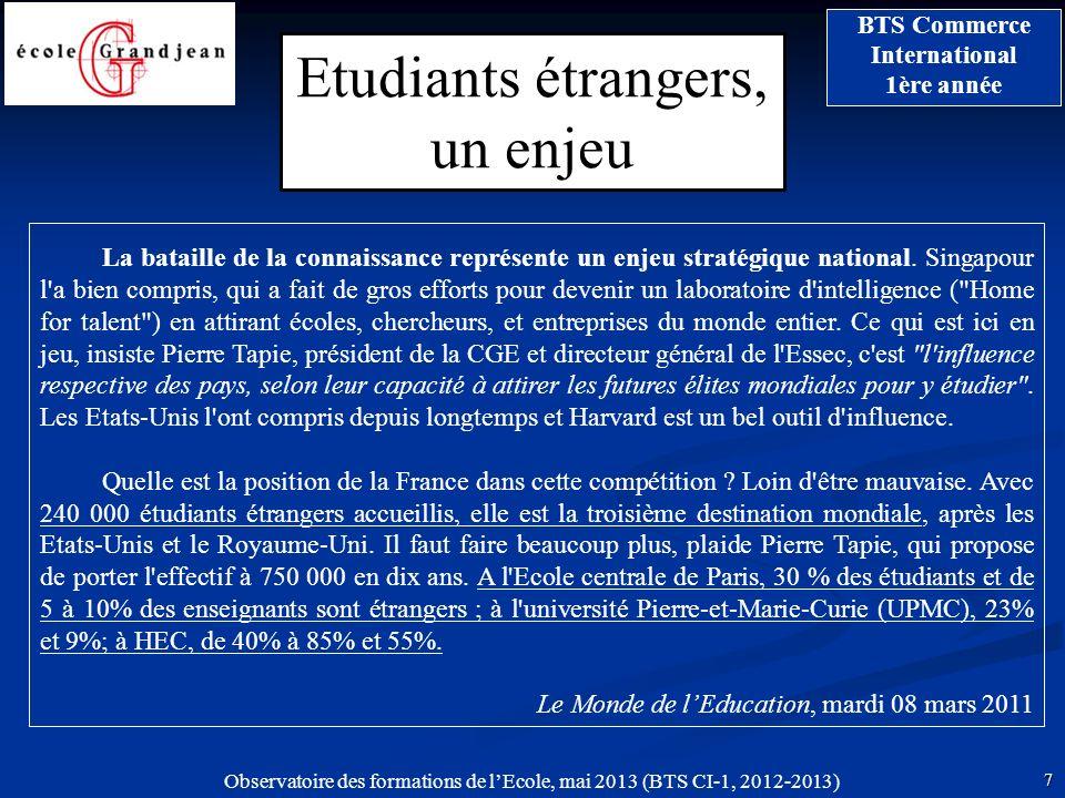 Etudiants étrangers, un enjeu