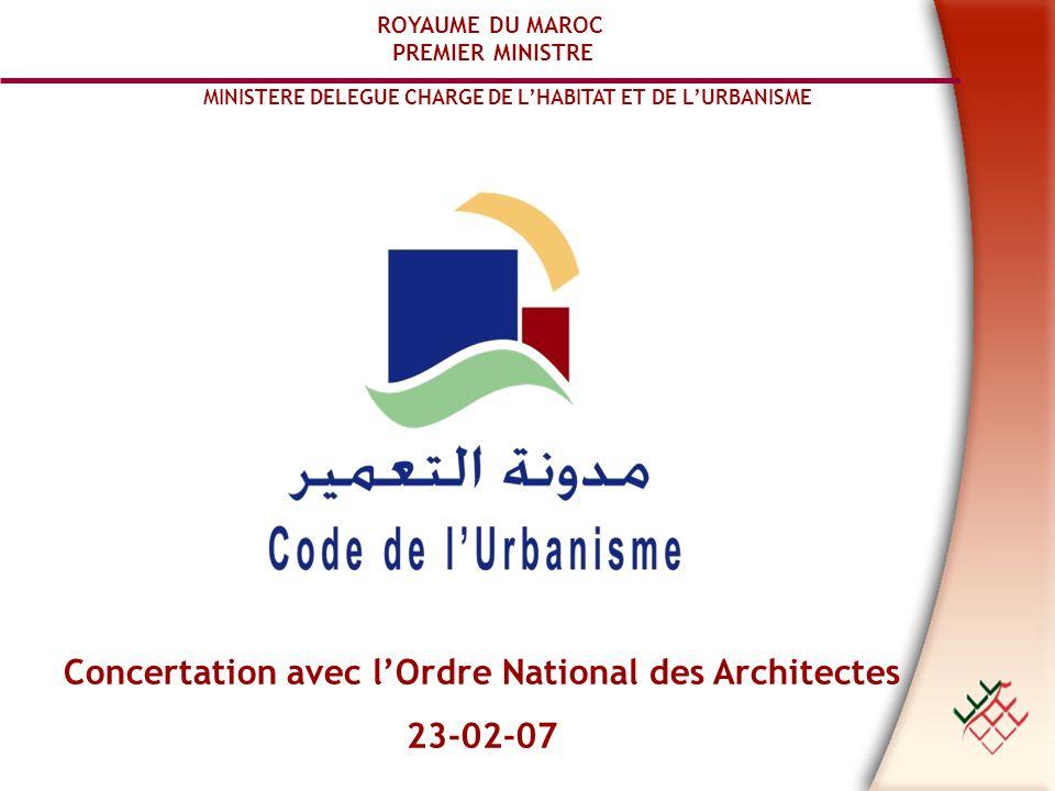 Concertation avec l'Ordre National des Architectes 23-02-07