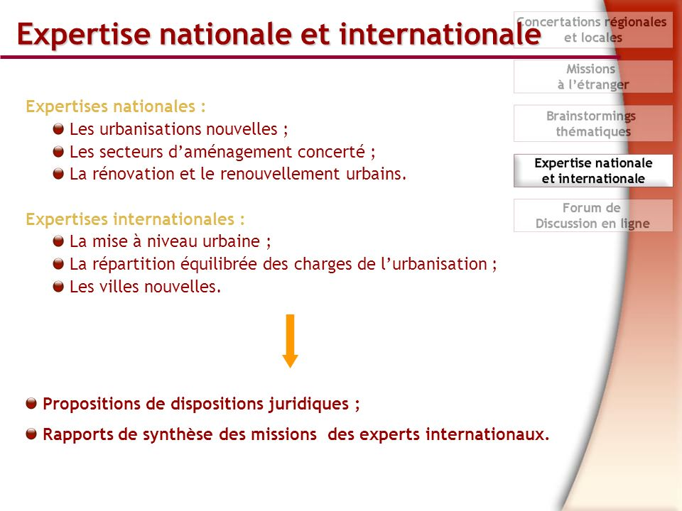 Expertise nationale et internationale