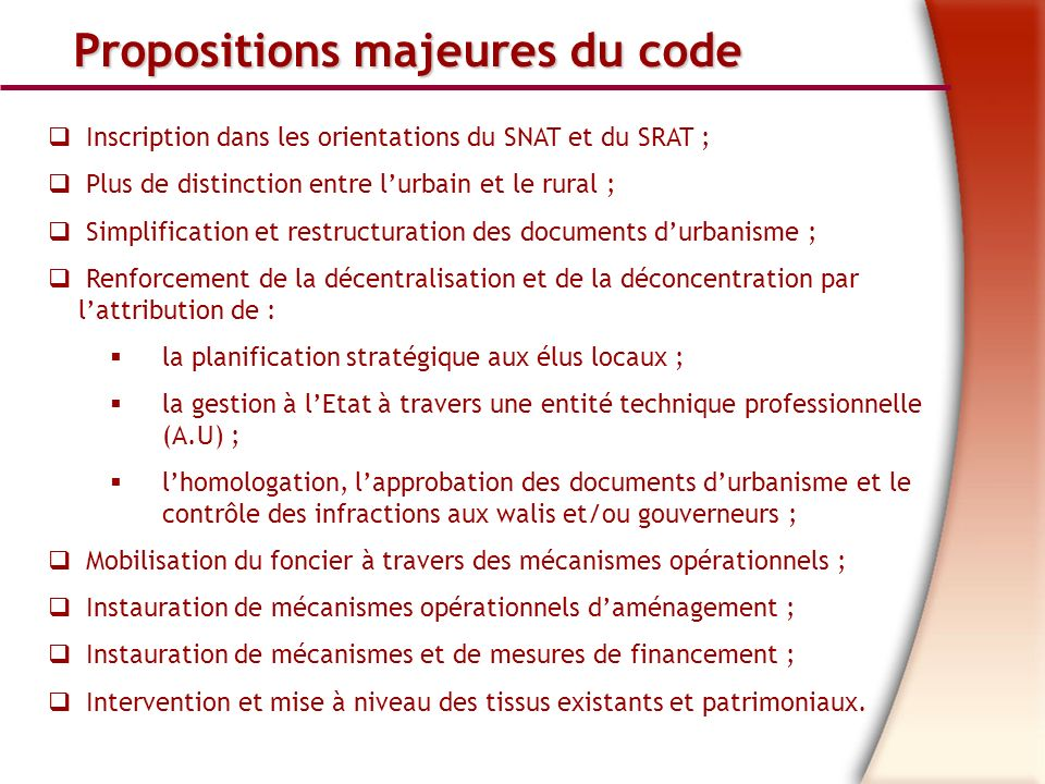 Propositions majeures du code