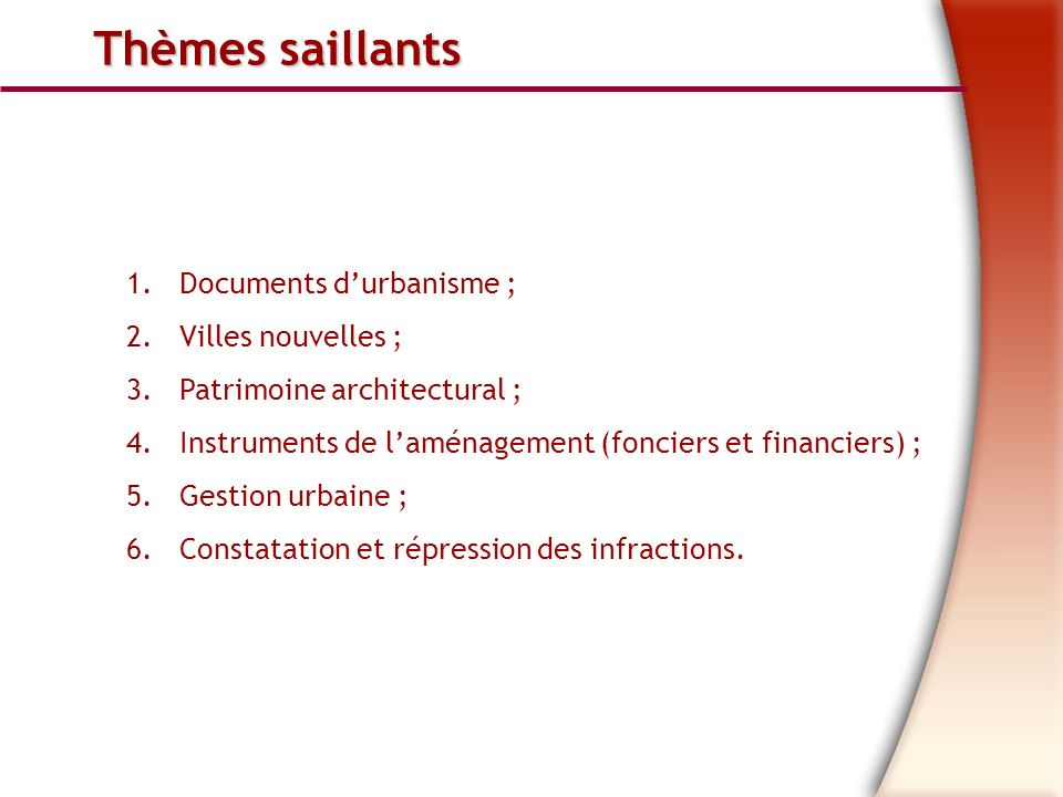 Thèmes saillants Documents d'urbanisme ; Villes nouvelles ;