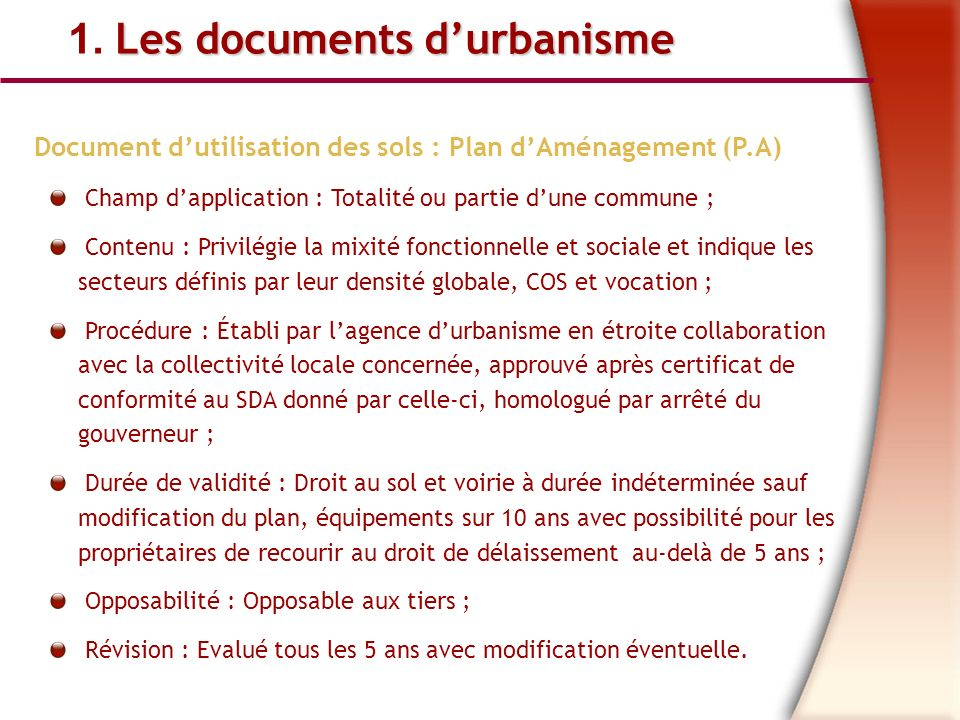 1. Les documents d'urbanisme