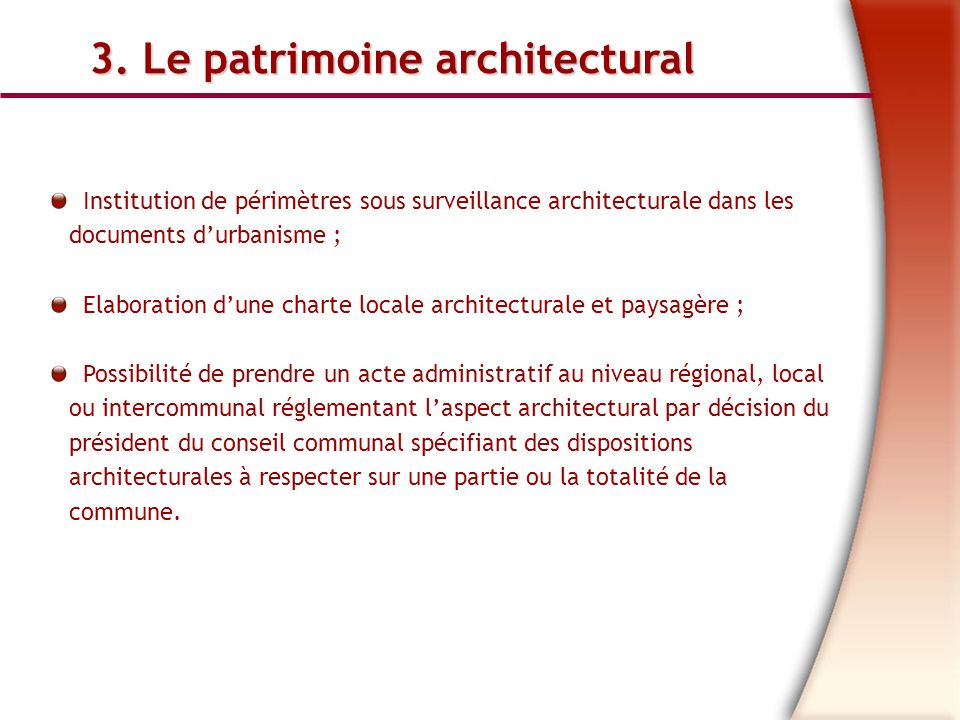 3. Le patrimoine architectural
