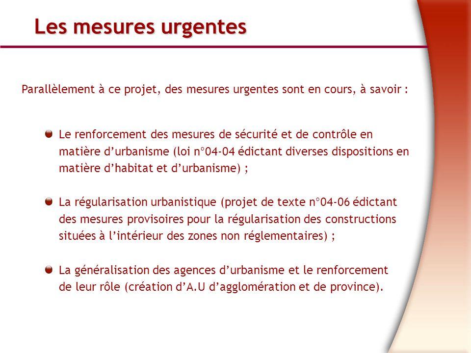 Les mesures urgentes Parallèlement à ce projet, des mesures urgentes sont en cours, à savoir :