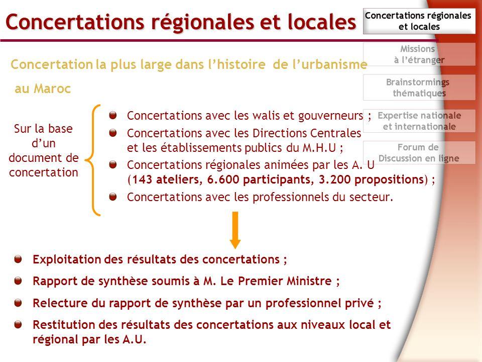 Concertations régionales et locales