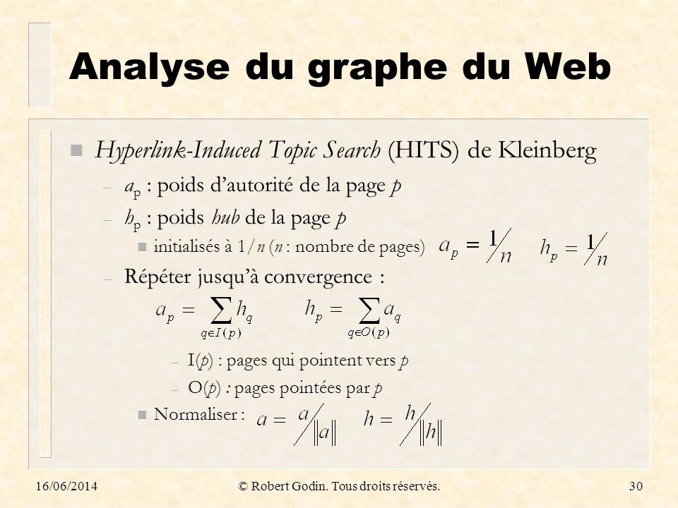Analyse du graphe du Web