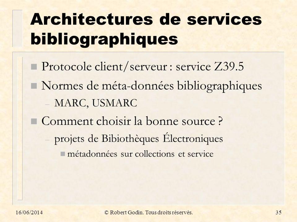 Architectures de services bibliographiques