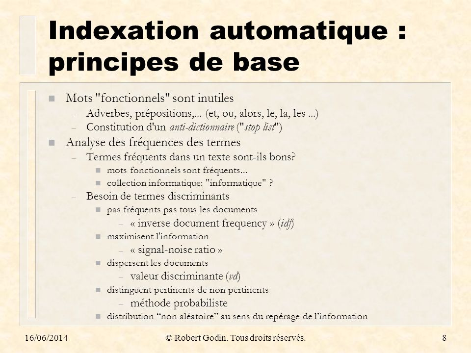 Indexation automatique : principes de base