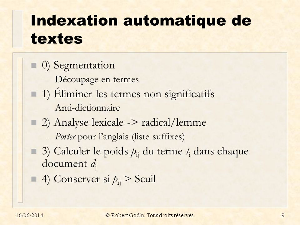 Indexation automatique de textes