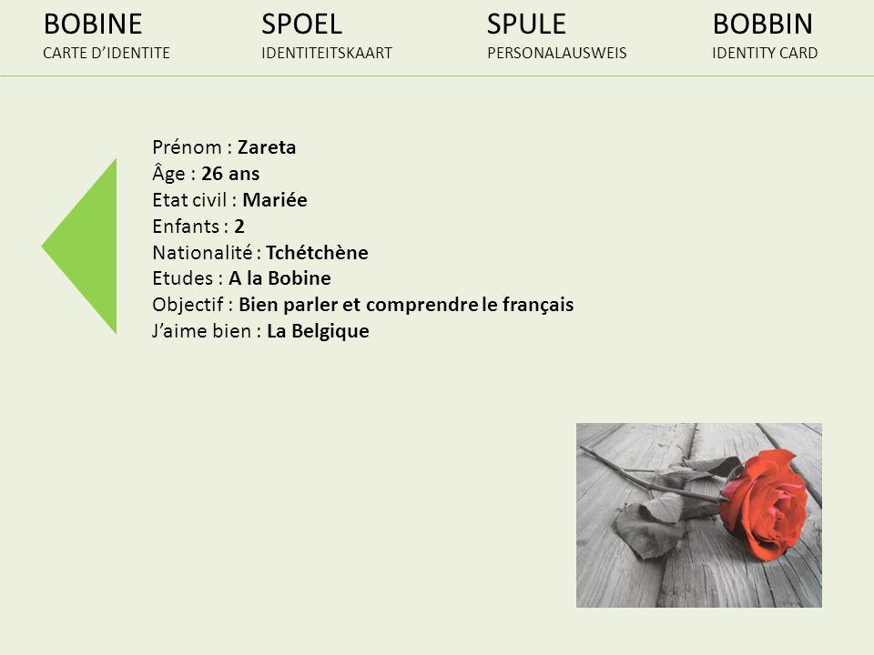 BOBINE SPOEL SPULE BOBBIN Prénom : Zareta Âge : 26 ans