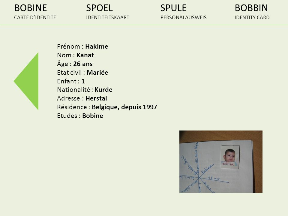 BOBINE SPOEL SPULE BOBBIN Prénom : Hakime Nom : Kanat Âge : 26 ans