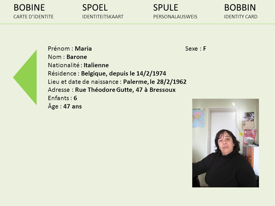 BOBINE SPOEL SPULE BOBBIN Prénom : Maria Sexe : F Nom : Barone