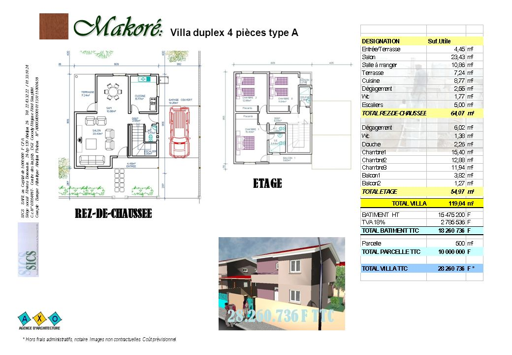 Makoré: Villa duplex 4 pièces type A
