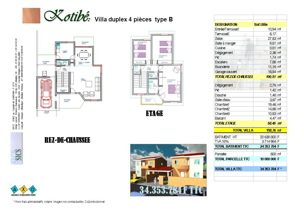 Kotibé: Villa duplex 4 pièces type B