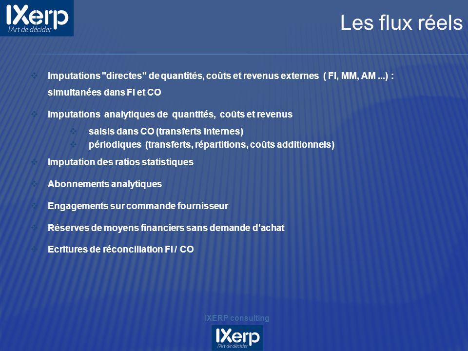 Les flux réels Imputations directes de quantités, coûts et revenus externes ( FI, MM, AM ...) : simultanées dans FI et CO.