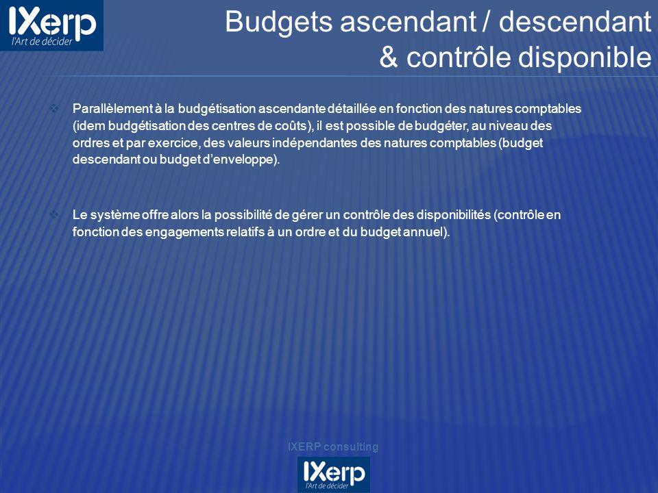 Budgets ascendant / descendant & contrôle disponible