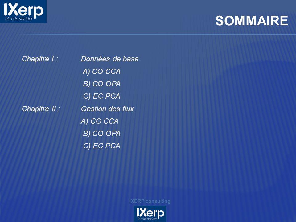 SOMMAIRE Chapitre I : Données de base A) CO CCA B) CO OPA C) EC PCA