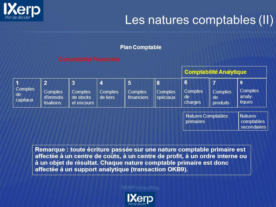 Les natures comptables (II)