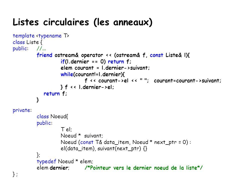 Listes circulaires (les anneaux)