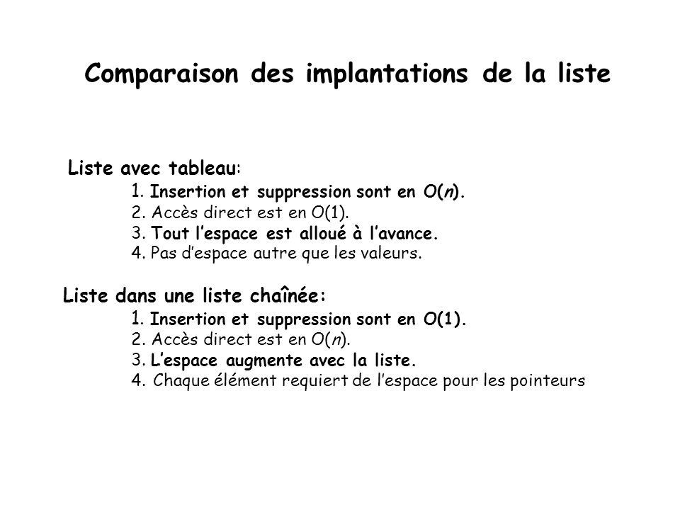 Comparaison des implantations de la liste