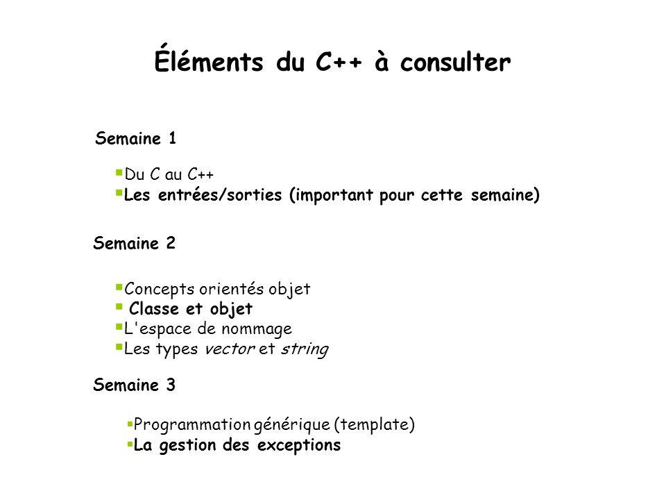 Éléments du C++ à consulter