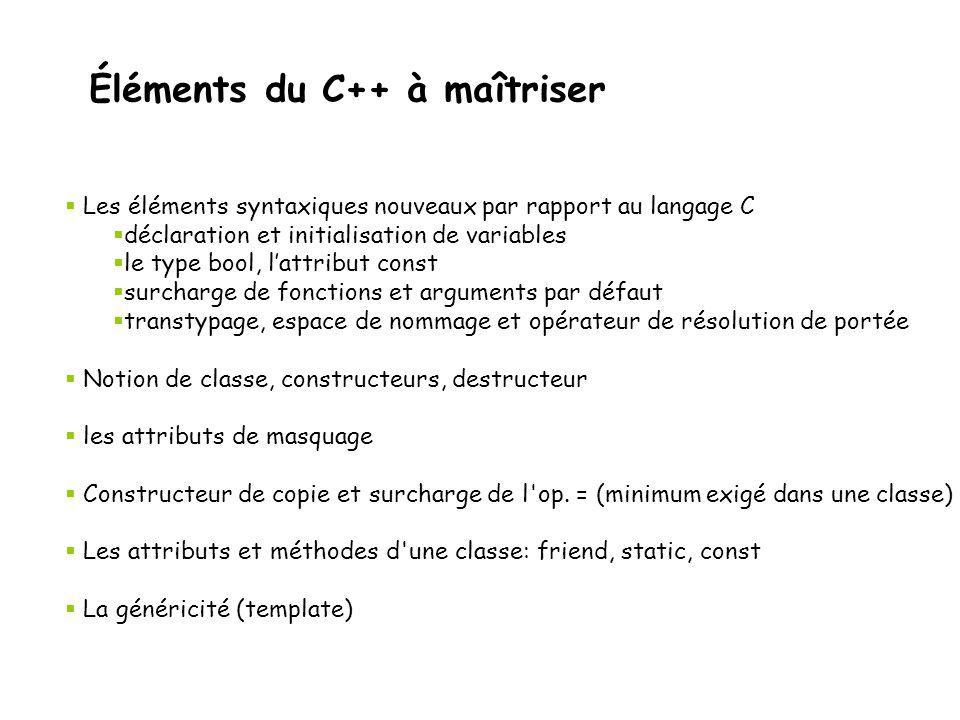 Éléments du C++ à maîtriser