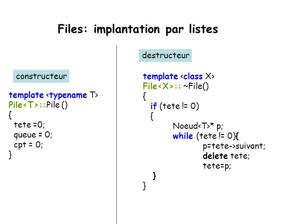 Files: implantation par listes