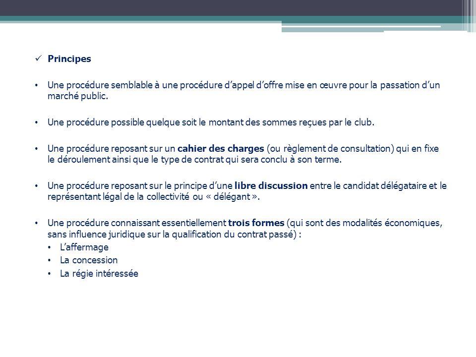 Principes Une procédure semblable à une procédure d'appel d'offre mise en œuvre pour la passation d'un marché public.