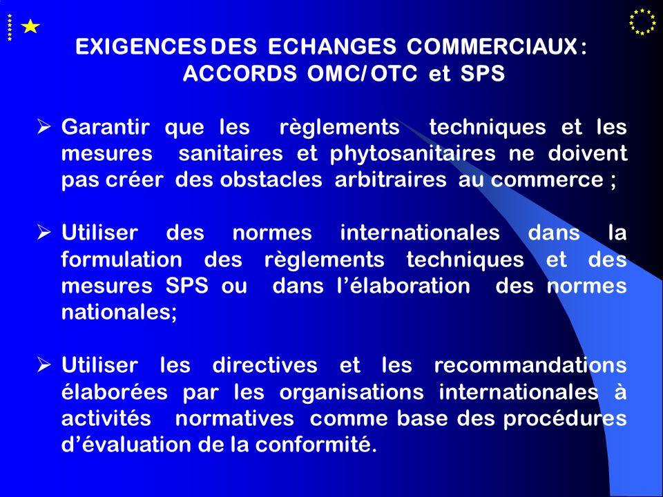 EXIGENCES DES ECHANGES COMMERCIAUX : ACCORDS OMC/ OTC et SPS