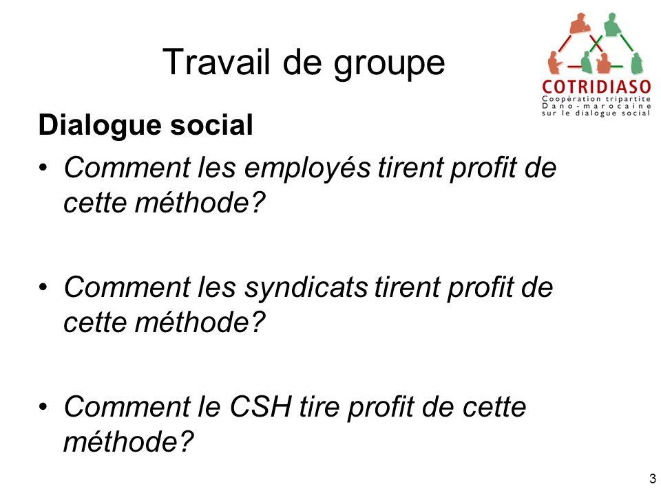Travail de groupe Dialogue social