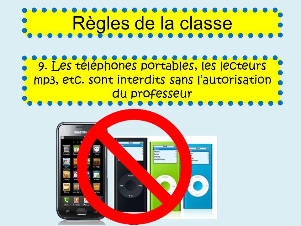 Règles de la classe 9. Les téléphones portables, les lecteurs mp3, etc.