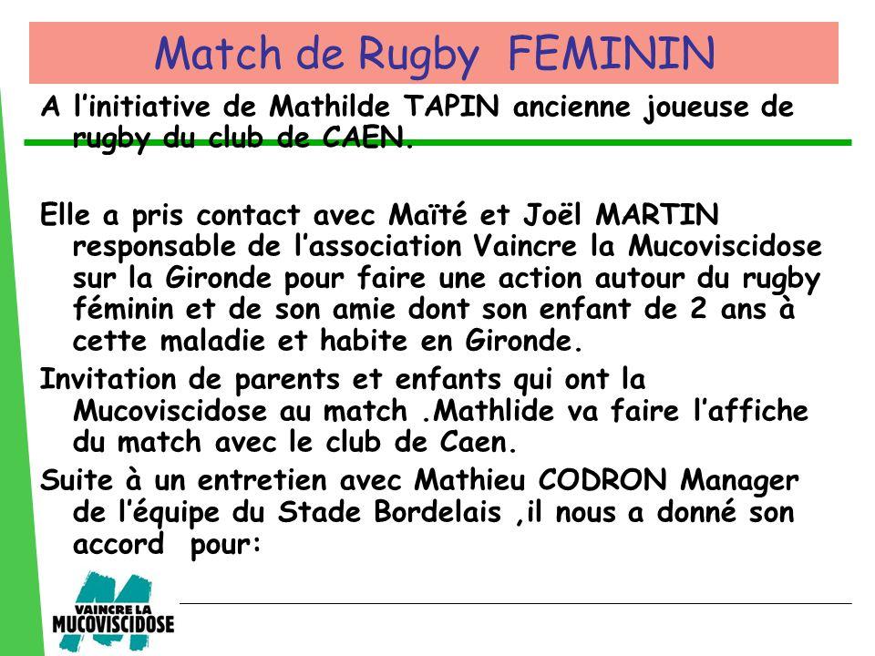 Match de Rugby FEMININ A l'initiative de Mathilde TAPIN ancienne joueuse de rugby du club de CAEN.