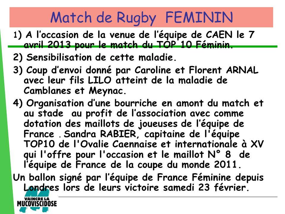 Match de Rugby FEMININ 2) Sensibilisation de cette maladie.