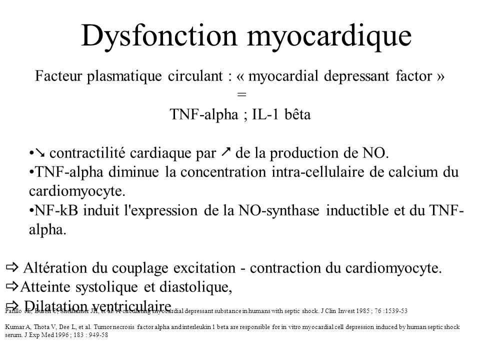 Facteur plasmatique circulant : « myocardial depressant factor »