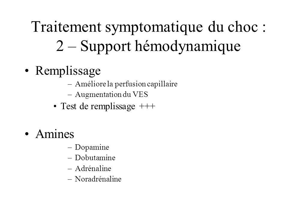 Traitement symptomatique du choc : 2 – Support hémodynamique