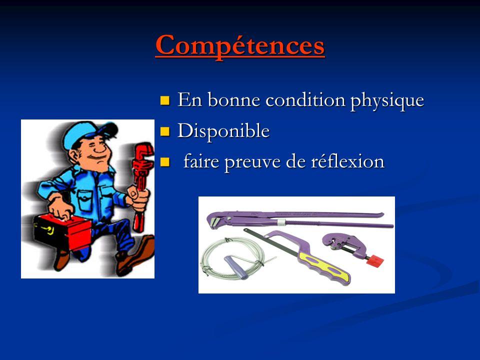 Compétences En bonne condition physique Disponible