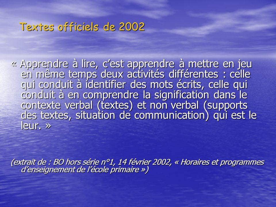 Textes officiels de 2002