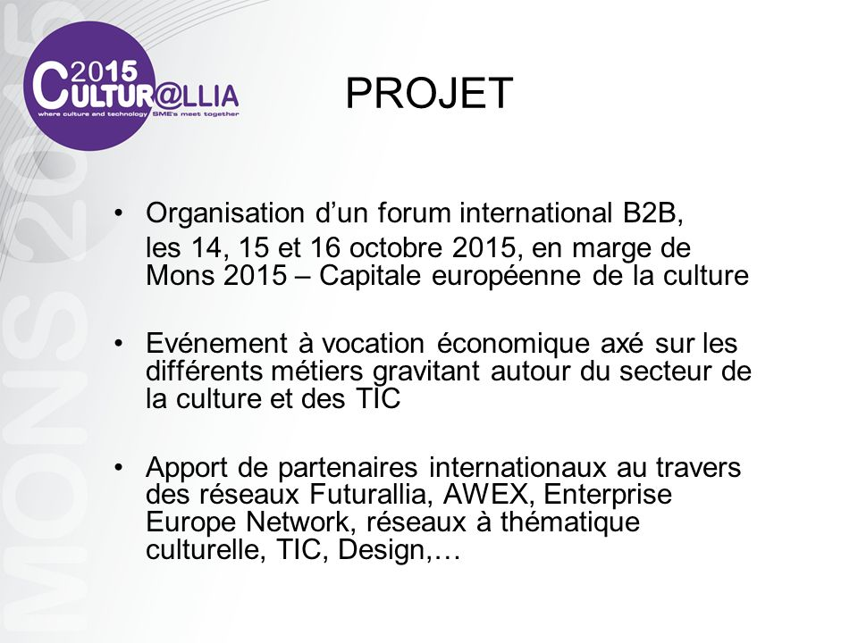 PROJET Organisation d'un forum international B2B,
